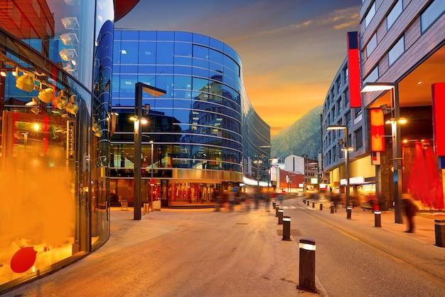 Andorra la vella commercial area sunset