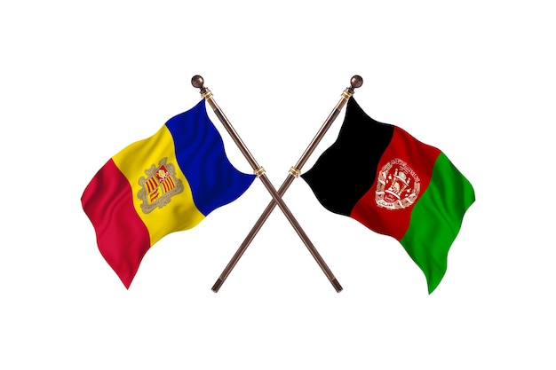 Андорра против фона флагов двух стран афганистана