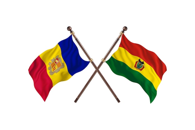 Andorra versus bolivia two countries flags background