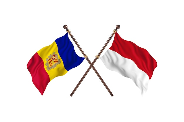 Andorra versus indonesia two countries flags background