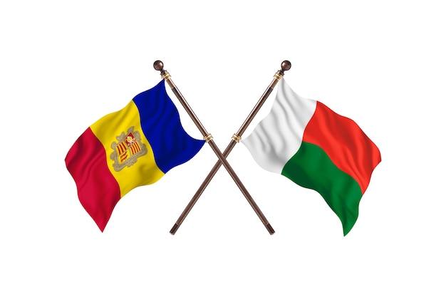안도라 대 마다가스카르 두 국가 깃발 배경