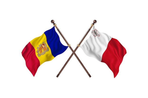 Andorra versus malta two countries flags background