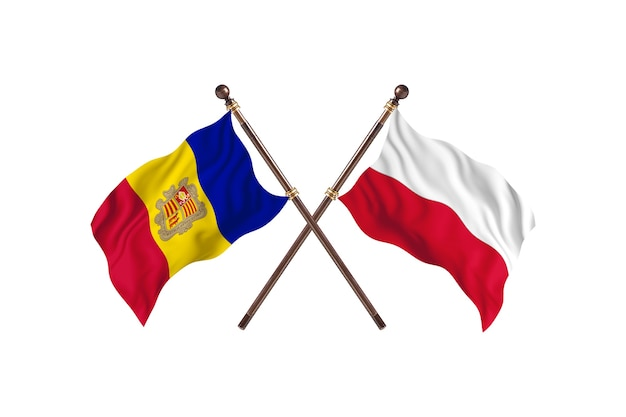 Andorra versus poland two countries flags background