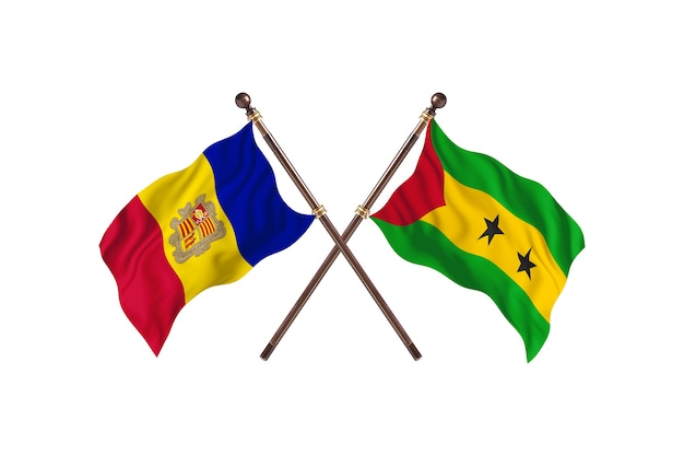 Andorra versus sao tome and principe two countries flags background