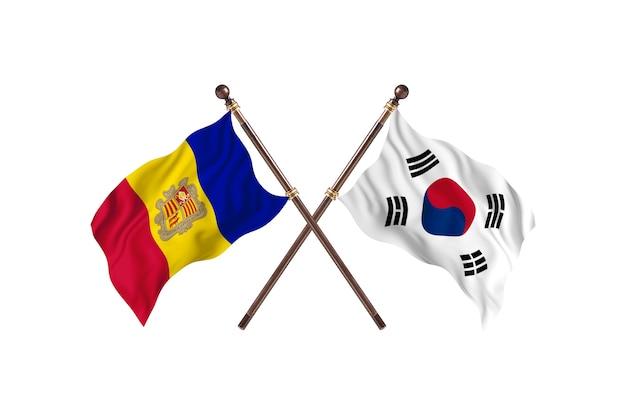 アンドラ対韓国2カ国旗の背景