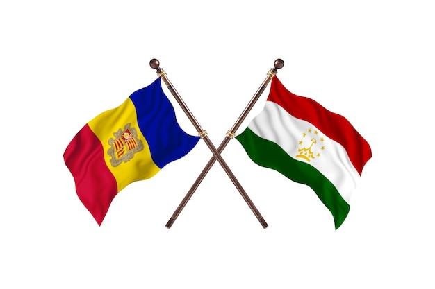 アンドラ対タジキスタン2カ国旗背景