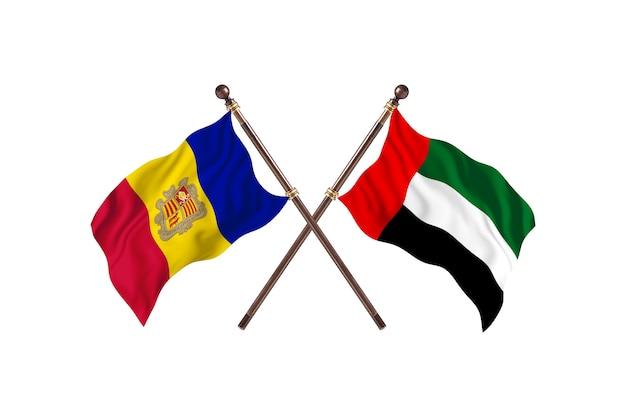 안도라 대 아랍 에미리트 두 국가 플래그 배경