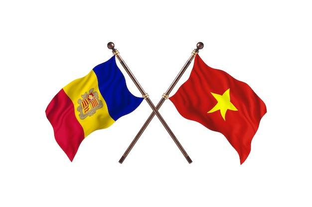 Andorra versus vietnam two countries flags background