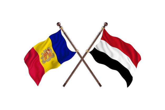 안도라 대 예멘 두 국가 플래그 배경