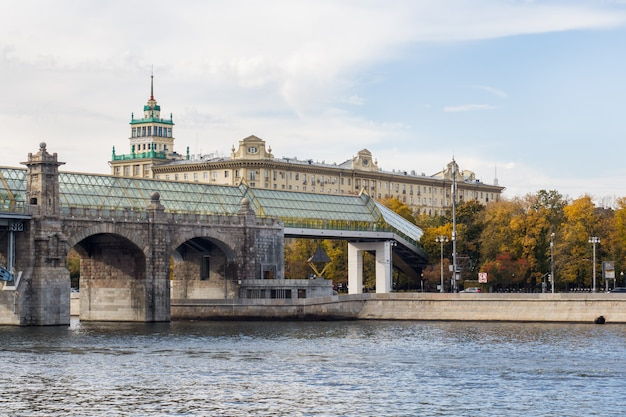 Andreevsky pedestrian bridge over the river, moscow russia