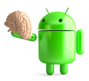 Android robot holding human brain. 3D illustration. Isolated. Contains clipping path
