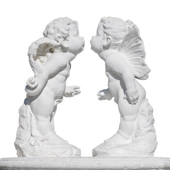 천사 그림, 키스. 흰색 배경에 고립