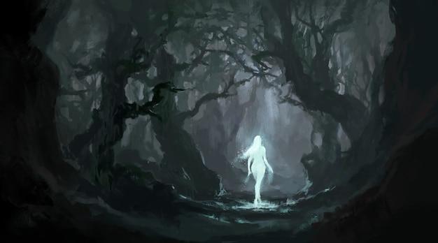 静かな原生林の天使、デジタル絵画。