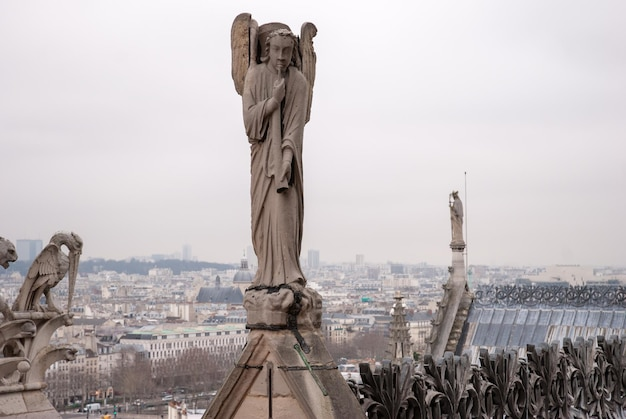 An angel is playing an horn in the cathedral of notre dame, paris, france