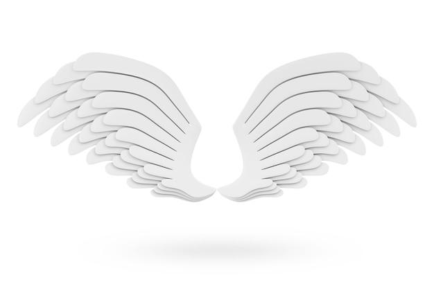 Крылья ангела белые, изолированные на белом фоне