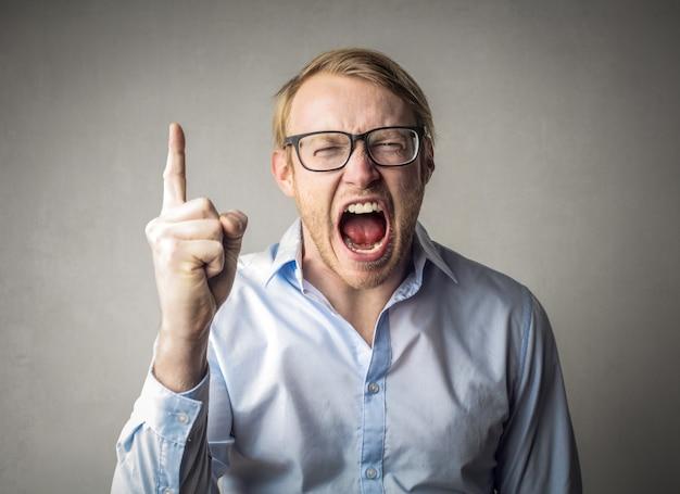 Anger screaming man