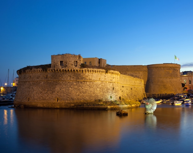 Angevin castle of gallipoli by night