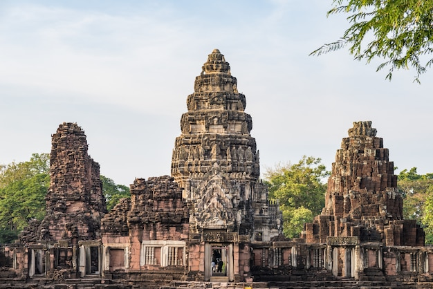 Angkor style temples and ancient khmer ruins at phimai, thailand.
