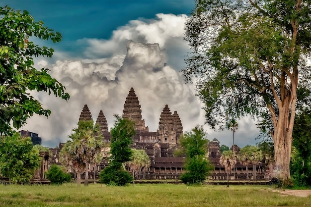 Angkor wat historic temple in siem reap, cambodia