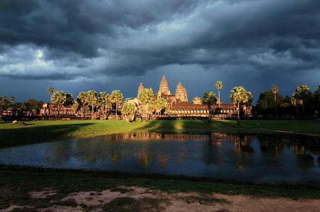 Angkor wat temple before sunset