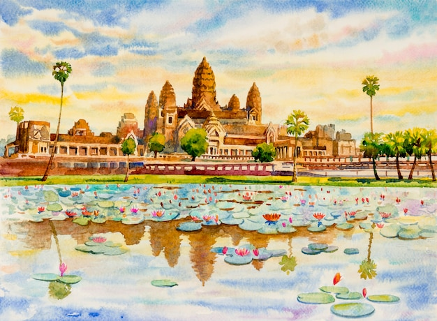 アンコールワット寺院、カンボジア、東南アジア。