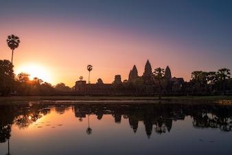 Angkor wat with sunrise .