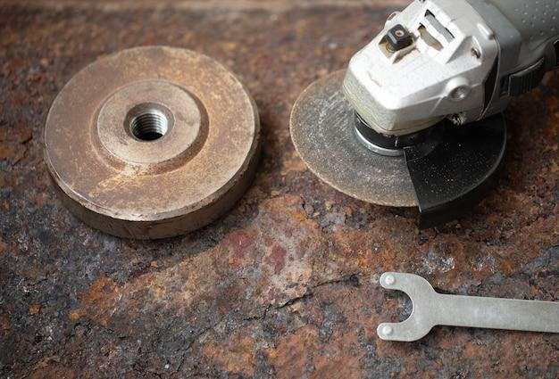 Angle grinder on metal