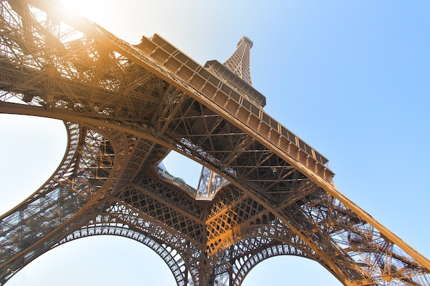 Angle shot of the eiffel tower in paris, france