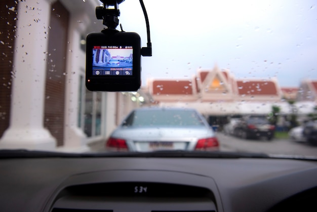Angle view in the car. see the dashcam camera is working on the car