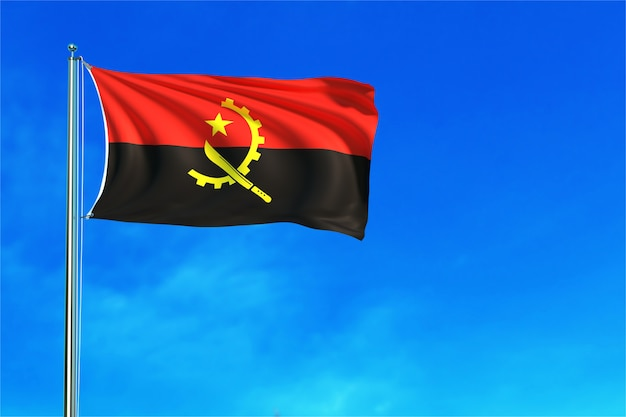 Angola flag on the blue sky background 3d rendering
