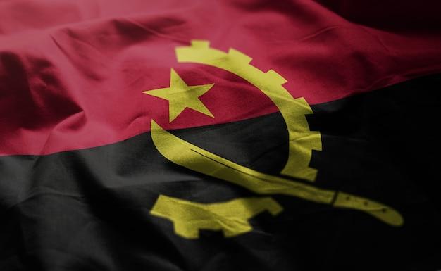 Angola flag rumpled close up