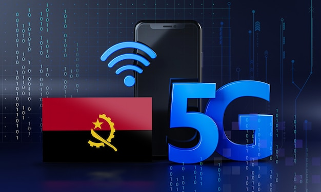 Angola  ready for 5g connection concept. 3d rendering smartphone technology background