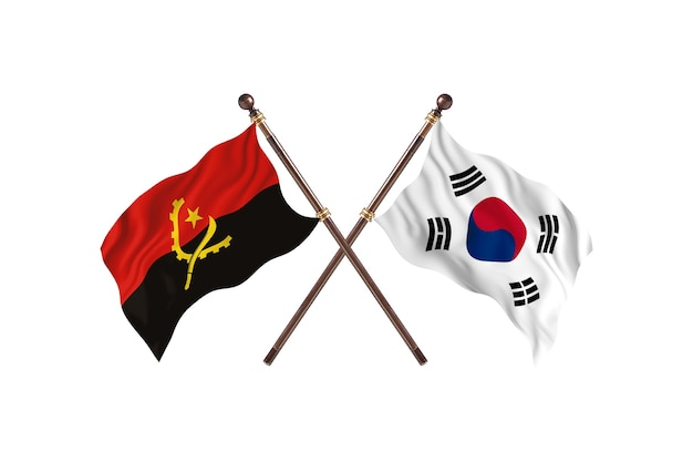 Angola versus south korea two countries flags background
