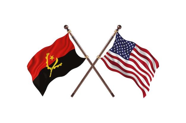 アンゴラ対アメリカ合衆国2つの国の旗の背景