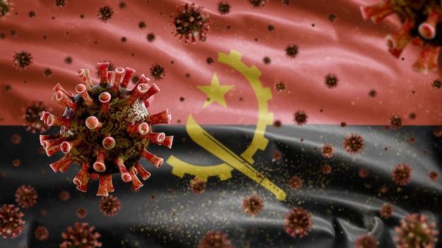 コロナウイルス顕微鏡ウイルスで手を振っているアンゴラの旗