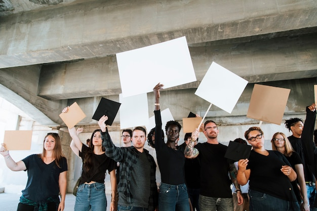 Angry activists protesting in a city