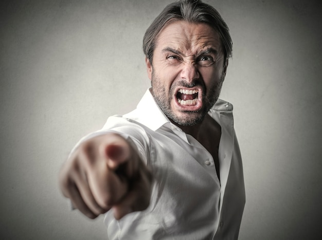 Angry aggressive businessman