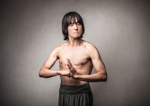 Angry aggressive japanese man