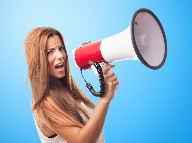 Angry annoyed megaphone holding loudspeaker