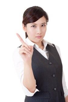 당신, 흰색 배경에 근접 촬영 초상화를 경고하는 화가 아시아 비즈니스 여자.