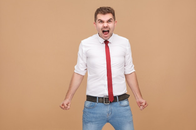 Angry businessman roar