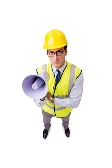 Angry construction supervisor isolated on white