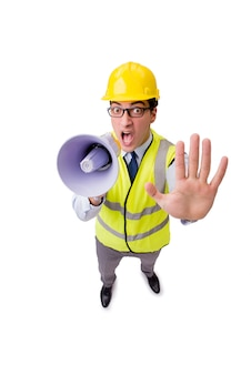 Angry construction supervisor isolated