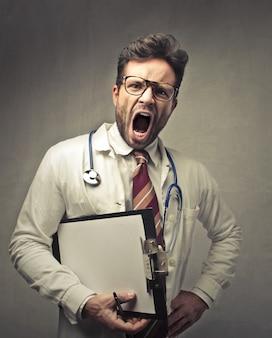 Angry doctor shouting