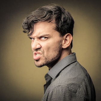 Angry expression of a man