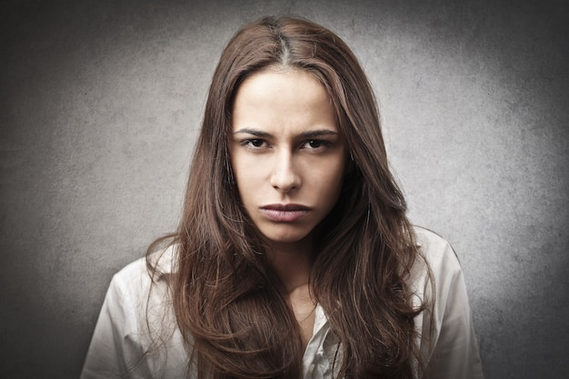 Angry expression of a woman
