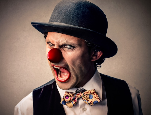 Angry furious clown