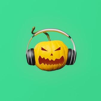 Сердитый хэллоуин тыква с наушниками