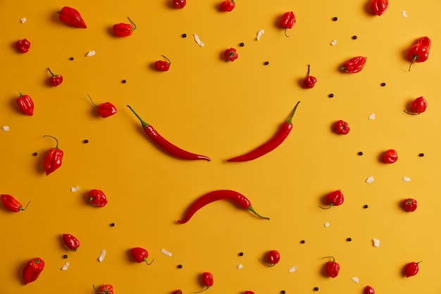 Angry human face made of red chili pepper, other peppers arranged around on yellow background. spicy vegetable that can trigger burning sensation and cause health problems, has own distinct taste