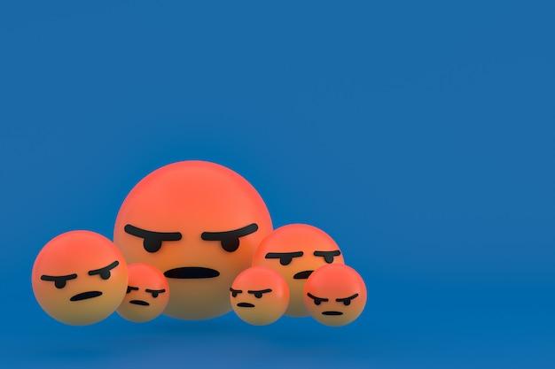 Злой значок facebook реакции смайликов 3d визуализации, символ шара в социальных сетях на синем